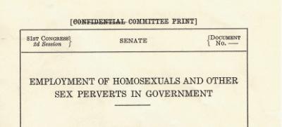 Senate Report, 1950, sexual orientation discrimination